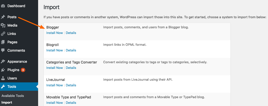 import blogger post to wordpress